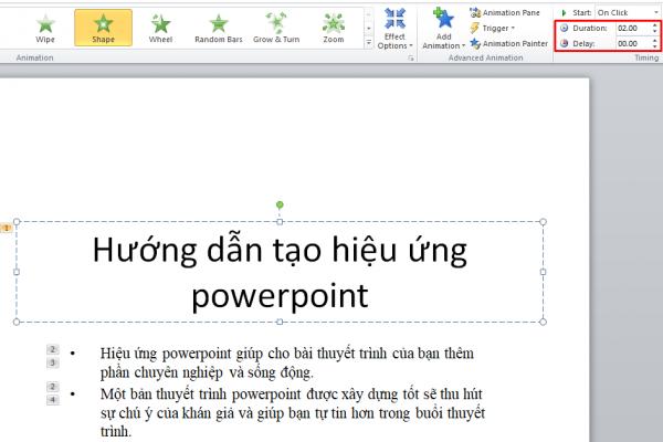 Cài đặt và thiết lập hiệu ứng powerpoint