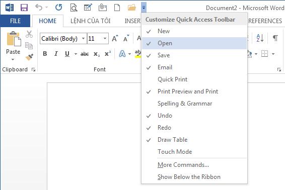 Bổ xung các lệnh thường sử dụng có trong danh sách mặc định