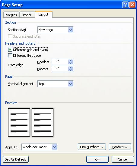 Áp dụng Header / Footer khác nhau cho trang chẵn và trang lẻ
