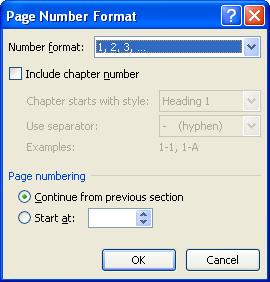 Thay đổi dạng số trang