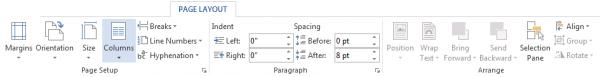 Page Layout: Xuất hiện mặc định trên thành Ribbon, chứa các nhóm lệnh liên quan đến bố cục của văn bản.