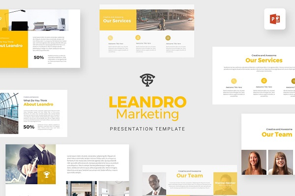 Mẫu Powerpoint Marketing Leandro
