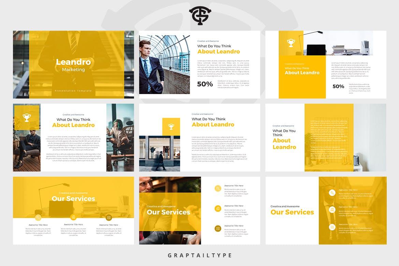 Mẫu Powerpoint Marketing Leandro